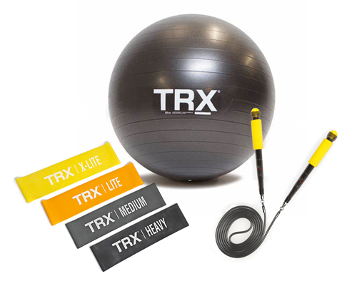 TRX Stability Ball, Pack of 4 Mini Bands and Jump Rope